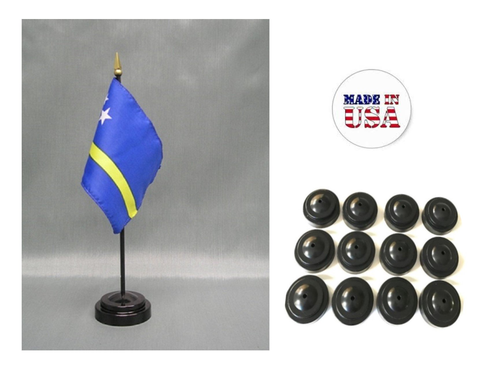 Made in the USA!! Box of 12 Curacao 4''x6'' Miniature Desk & Table Flags Includes 12 Flag Stands & 12 Curacao Small Mini Stick Flags