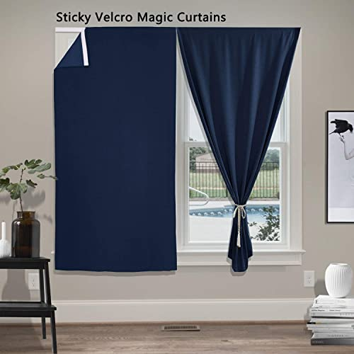 cololeaf Thermal Insulated Sticky Velcro Curtains Blackout Privacy French Door Panel for Patio Sliding Window with Bonus Tieback – Navy 54W x 96L Inch 1 Panel