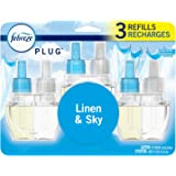 Febreze Plug in Air Freshener and Odor Eliminator, Scented Oil Refill, Linen & Sky, 3 Count
