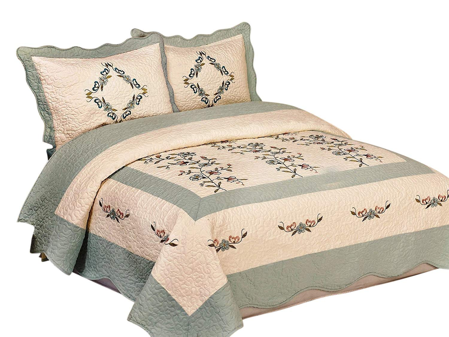 FineHome 3pcs Fully Quilted Embroidery Quilts Bedspread Bed Coverlets Cover Set, Queen King (Beige/AquaBlue)