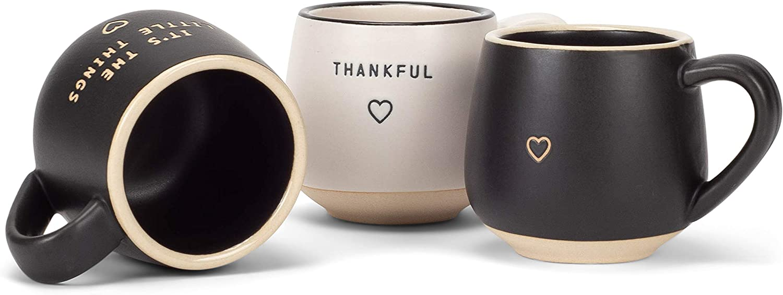 DEMDACO Happy Black and White 4 x 3 Stoneware Coffee Pod Mug Ornaments Set of 3