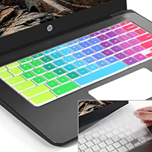 [2pack] for hp Chromebook 11 Keyboard Cover Skin,hp Chromebook x360 11.6 inch,HP Chromebook 11 G2,G3,G4,G5 (G6 EE) 11.6 Inch Chromebook Protective Skin(NOT Fit HP Chromebook G5 EE)(Rainbow+Clear)