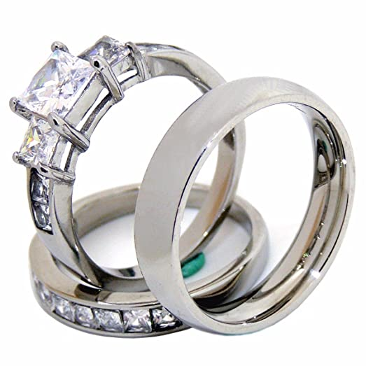 couples rings set his hers 3 stone type stainless steel princess cz wedding ring set mens - Wedding Ring Set His And Hers
