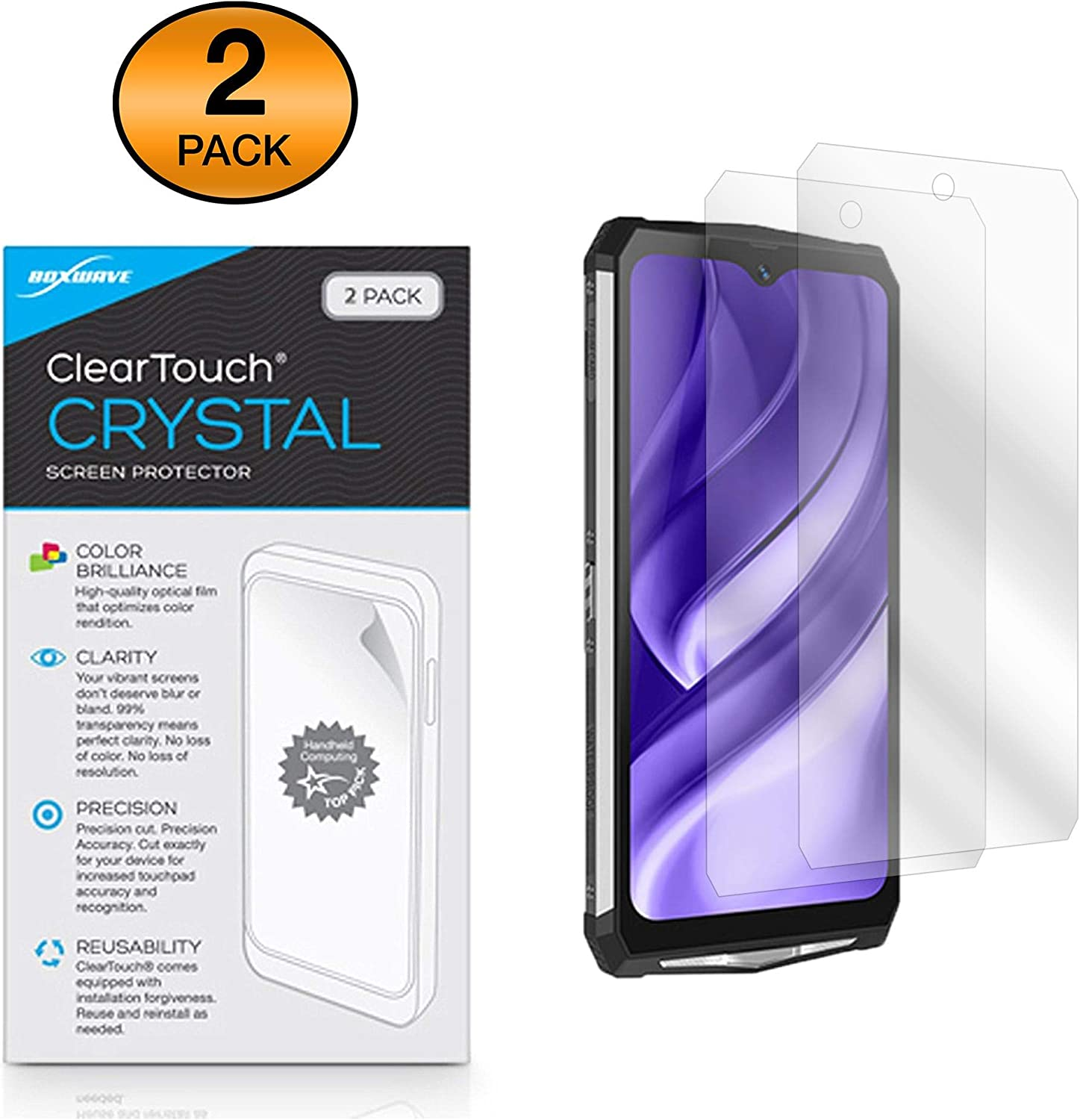 2-Pack Blackview BV9100 Screen Protector ClearTouch Crystal BoxWave Shields from Scratches for Blackview BV9100 HD Film Skin