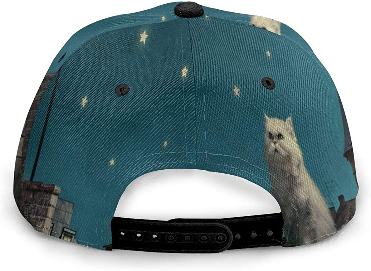 Persian White Cat Sits On Roof Watching Stars Moon Lightweight Unisex Baseball Caps Adjustable Breathable Sun Hat for Sport Outdoor