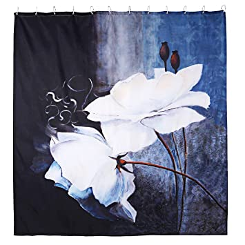 Sorts Of Flowers Waterproof Bath Polyester Shower Curtain Liner Water Resistant