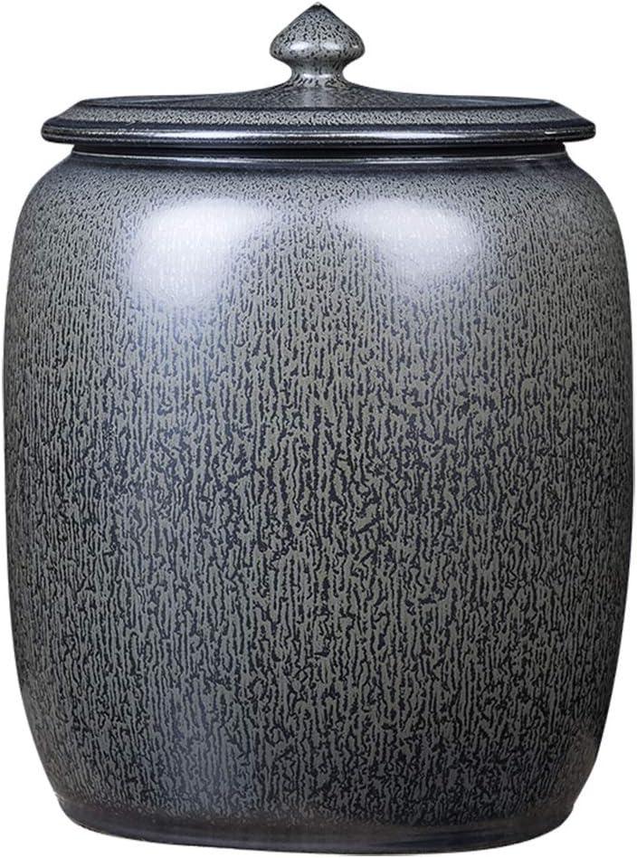 保存容器 セラミックライスシリンダー フタ付き ティーシリンダー ライスバレル 給水タンク オイルシリンダー 防湿および害虫駆除 キッチン用穀物容器 (Color : Gray, Size : 33*44cm)