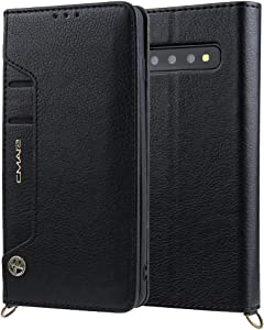 Ultra Slim Case Case for iPhone Samsung Galaxy S10 Plus Wallet Case,Premium PU Leather Credit Card Holder and Money Slot Case with Kickstand Flip cover (TPU inner protective cover) Phone Back Cover
