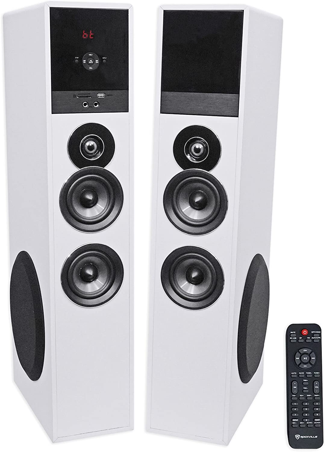 "Rockville TM80W White Powered Home Theatre Tower Speakers 8"" Sub/Bluetooth/USB"