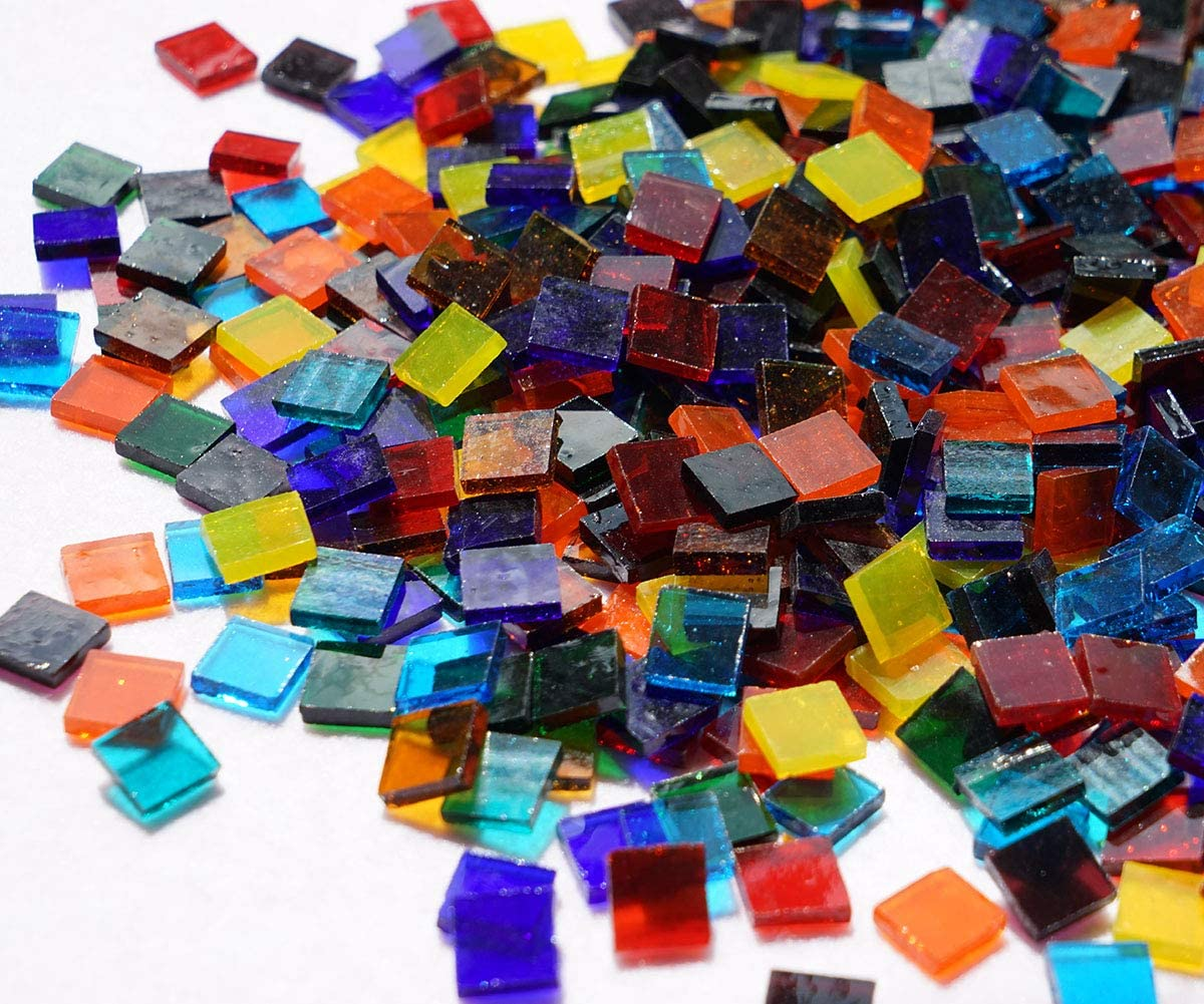 Irregular Stained Glass Mosaic Tiles DIY Crafts Glass Art Supplies Colorful 500g