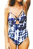 CUPSHE Women's Tie-Dyed Lace up Padding One-Piece Swimsuit with Cutout