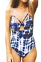 Cupshe Fashion Women's Tie-dyed Lace Up Padding One-piece Swimsuit with Cutout
