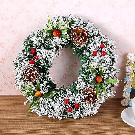 Kathshop Corona De Navidad Hecha A Mano De Seda Artificial Para Colgar Decoración De Fiesta Suministros Seda 20cm Home Kitchen