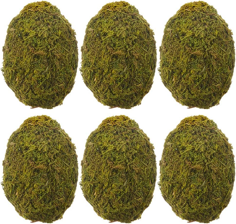 The Bridge Collection Faux Moss Covered Decorative Eggs, Set of 6