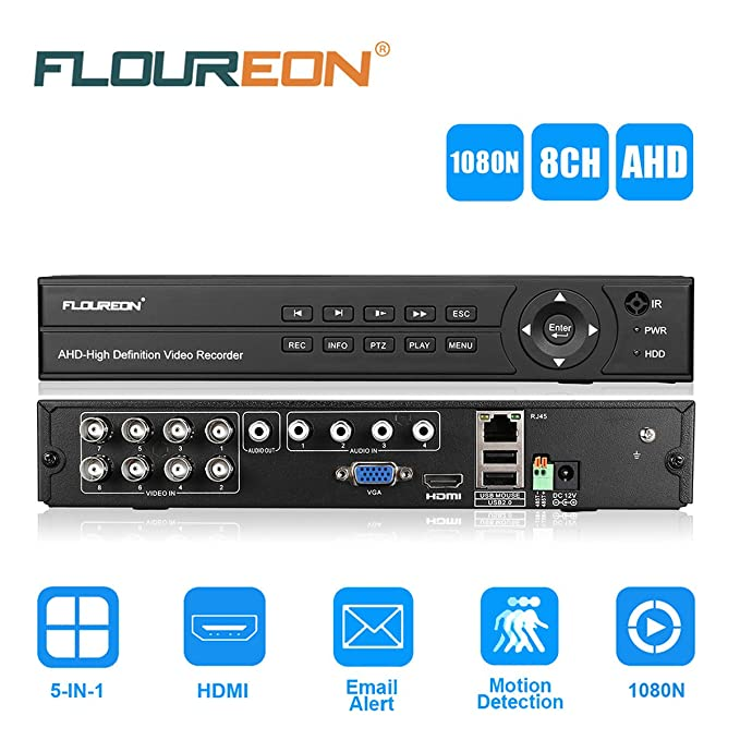 5 opinioni per FLOUREON Videoregistratore DVR Recorder per Telecamere (8 Canali 1080N, ONVIF,