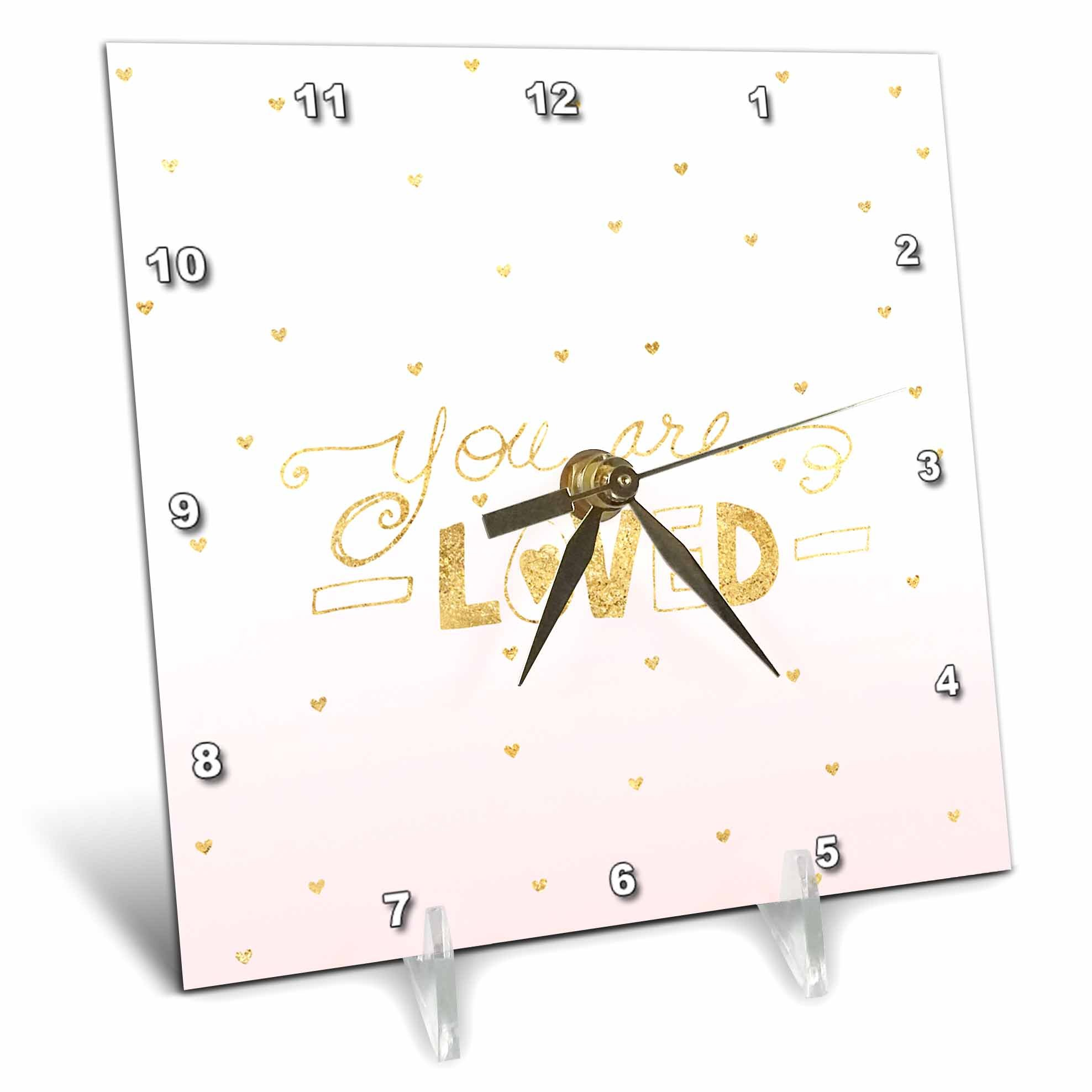 3dRose PS Inspiration - You Are Loved Gold Hearts Blush Pink Ombre - 6x6 Desk Clock (dc_280663_1)