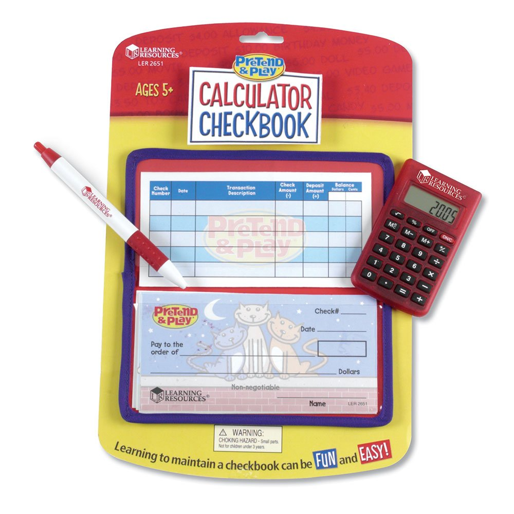 Uncategorized Kids Calculator amazon com learning resources pretend play checkbook with calculator and checks toys games