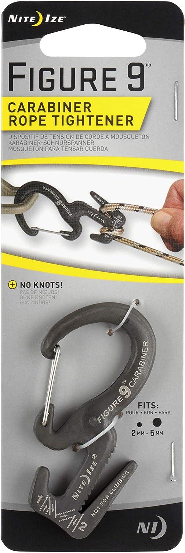 "Nite Ize  Figure 9  Twisted  Aluminum  1//8/"" Rope Tightener  Black"