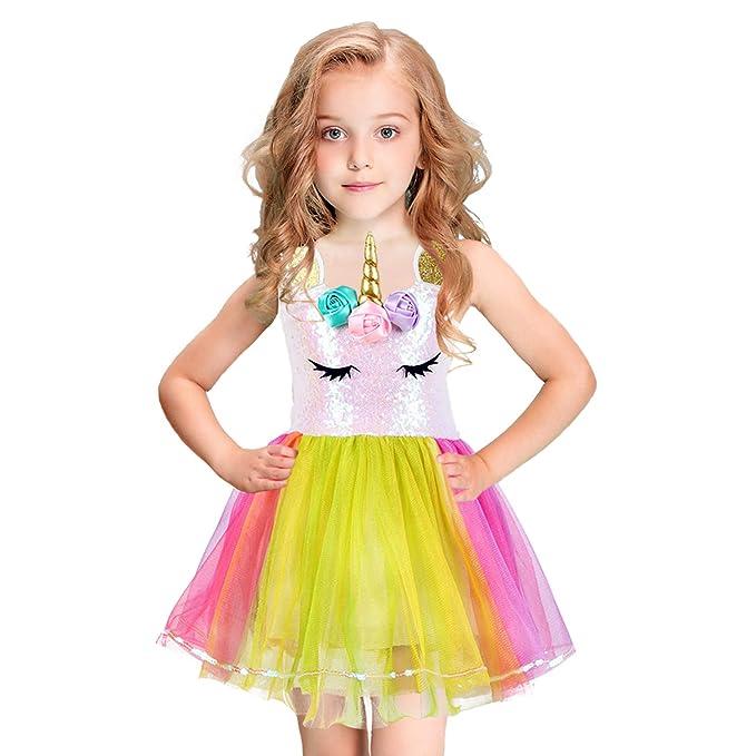 0e90cb4b Amazon.com: Girls-Unicorn-Dress-Rainbow-Tutu-Sequin-Dress-Unicorn-Costume  Party Dress Sleeveless for Girls,1T 3T 5T 7T: Clothing