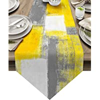 ARTSHOWING Yellow and Gray Table Runner Farmhouse Style Burlap Table Runner Abstract Modern Art Painting Table Runners…