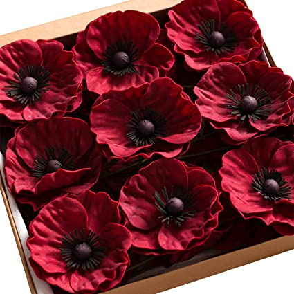 Amazon lings moment handmade artificial fake poppies flowers lings moment handmade artificial fake poppies flowers 18 pcs burgundy for wedding bouquets centerpieces arrangements diy mightylinksfo