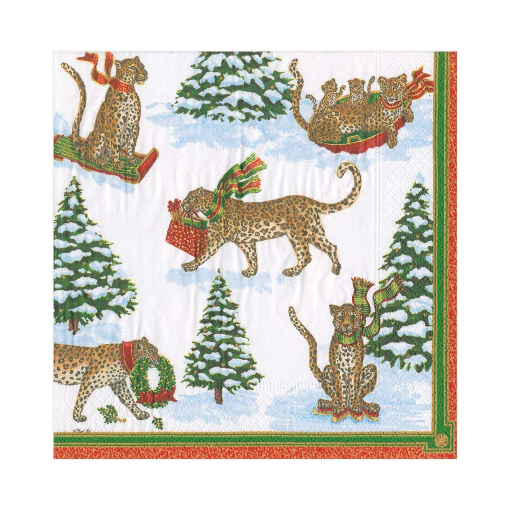Funny Cocktail Napkins Christmas Party Napkins for Holiday Party Rustic Christmas Decor Winter Leopards in Snow 5 x 5 Pk 20 Disposable Napkins Red Paper Napkins Christmas Napkins