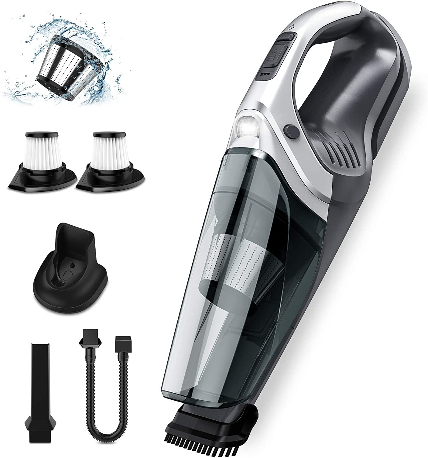 Holife Handheld Vacuum Cordless Portable Vac Cleaner with 9KPA High Power Cyclonic Suction, Washable Stainless Steel Filter, LED Light, Rechargeable Wet/Dry Vac for Pet Hair, Dust,Home Cleaning