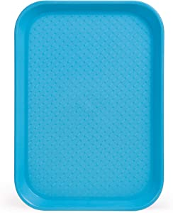 Fast Food Cafeteria Tray | 10 x 14 Rectangular Textured Plastic Food Serving TV Tray | School Lunch, Diner, Commercial Kitchen Restaurant Equipment (Blue)
