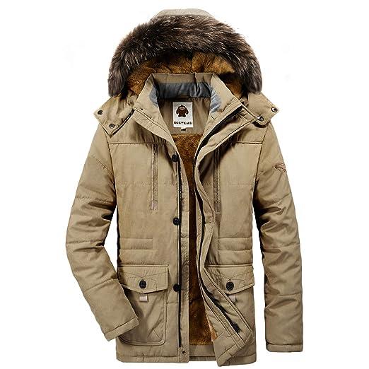 df999c08c Yavero Men's Faux Fur Lined Winter Coat Detachable Hood Windproof Jacket  Warm Thicken Casual Outwear