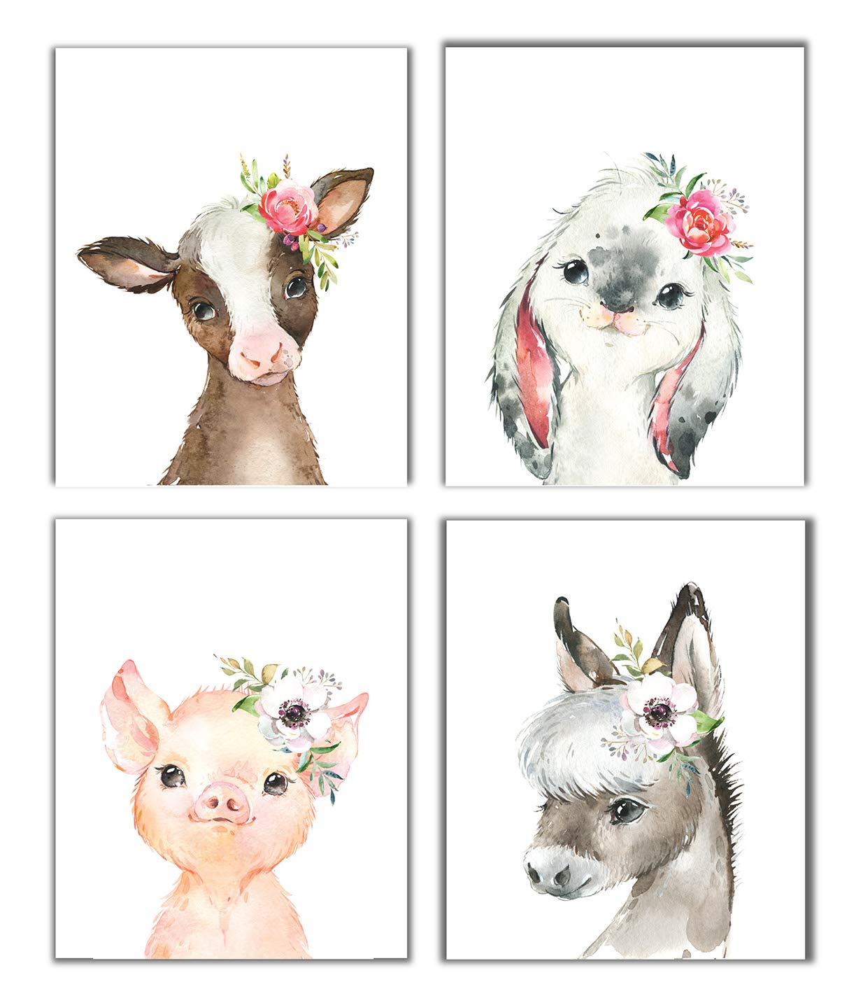 Little Baby Watercolor Farm Animals Floral Crown Prints Set of 4 (Unframed) Nursery Decor Art (8x10) (Option 1)