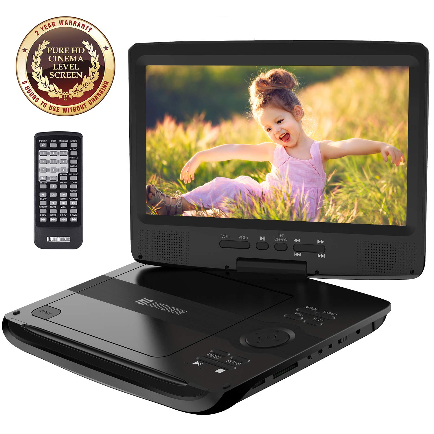 "HD JUNTUNKOR 12.5"" Portable DVD Player with 5 Hrs Rechargeable Battery, Unique Design for Dual Use Purpose, 10.1"" HD Swivel Screen, Car Headrest Case, Remote Control, Car Charger, USB/SD Card Reader"