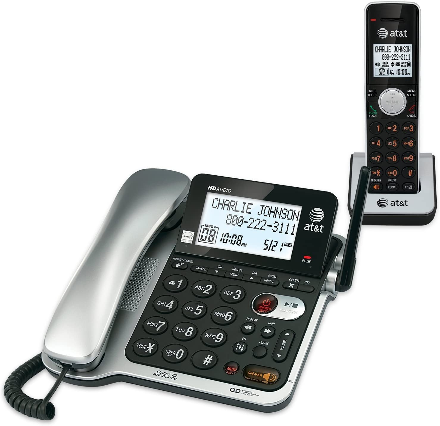 Digital Answering System AT/&T CL84302 Corded//Cordless Phone System W