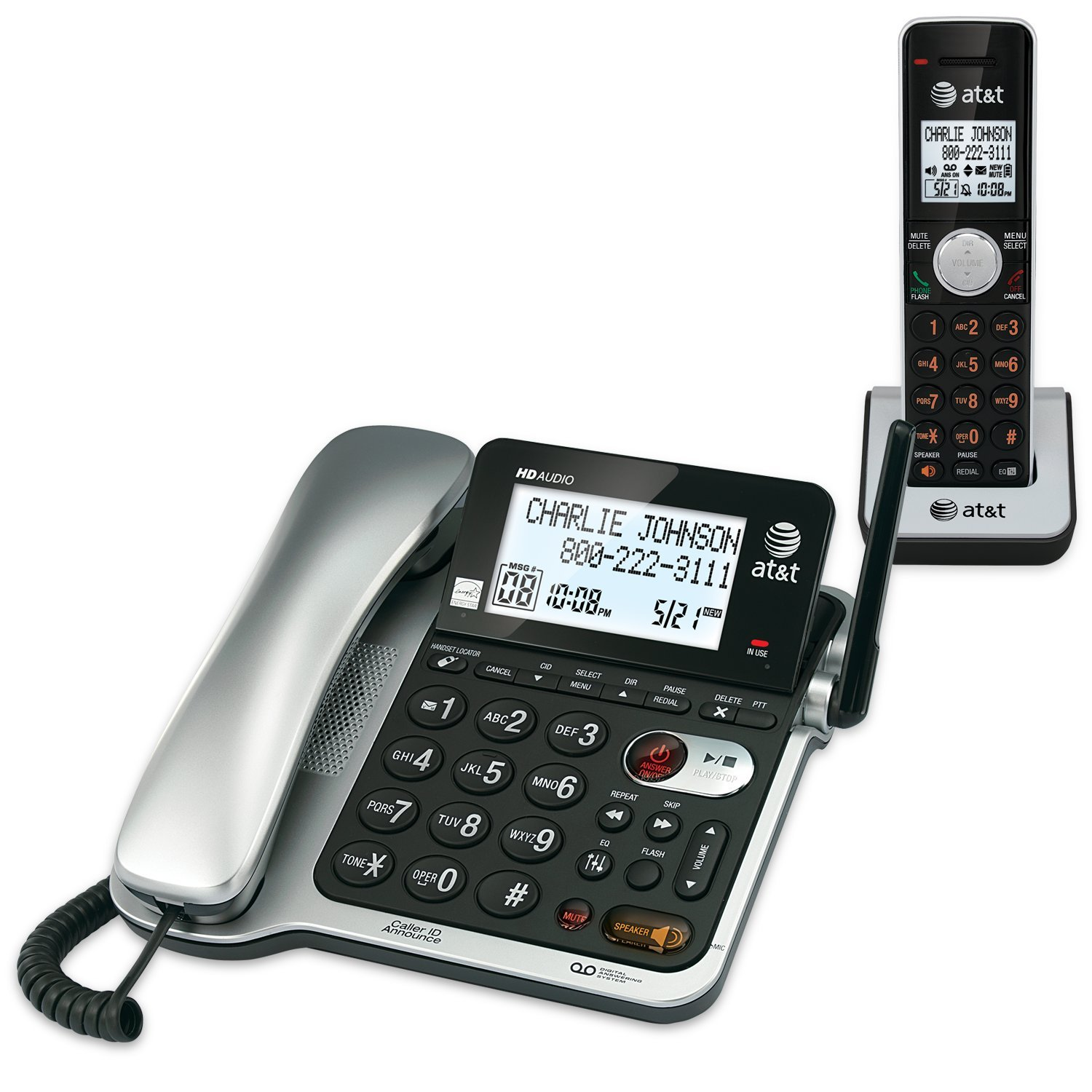 AT&T CL84102 DECT 6.0 Expandable Corded/Cordless Phone with Answering System and Caller ID/Call Waiting, Black, 1 Corded and 1 Cordless Handset