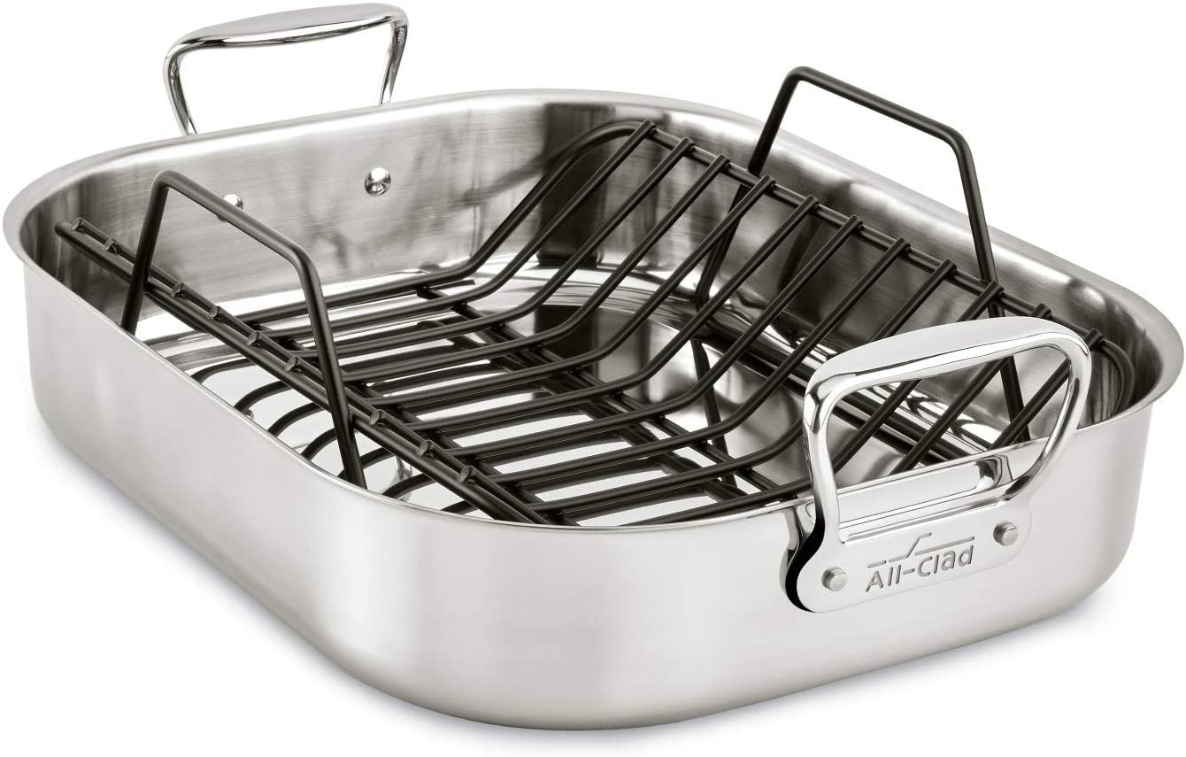 all clad stainless steel e752c264 dishwasher safe large 13 x 16 inch roaster with nonstick rack cookware 25 lbs silver
