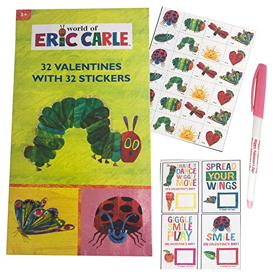 Hungry Caterpillar Eric Carle 32 Valentine Card Pack With 32 Stickers