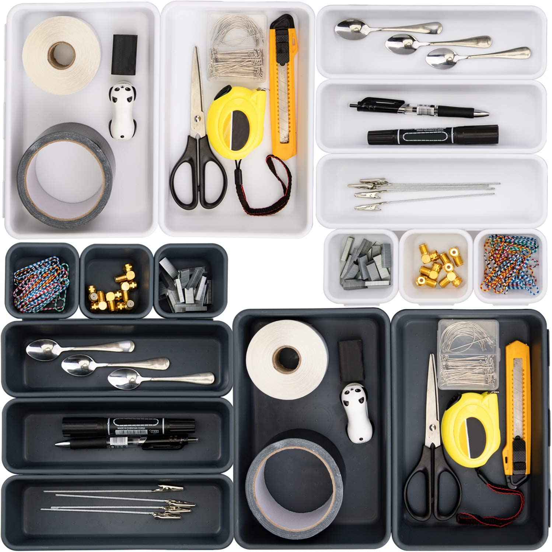 Nicunom Set of 16 Pcs Interlocking Desk Drawer Organizer Dividers Bins for Organizing and Storage Kitchen Utensils Silverware, Dresser Cosmetic Makeup Tools, Office Supplies, White and Dark Grey