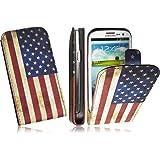 Premium Slim Handytasche für Samsung i9300/i9305 Galaxy S3 LTE FlipCase Schutzhülle Tasche Hülle Cover Flip Style Klapptasche Vertikaltasche in American/USA Flag Design