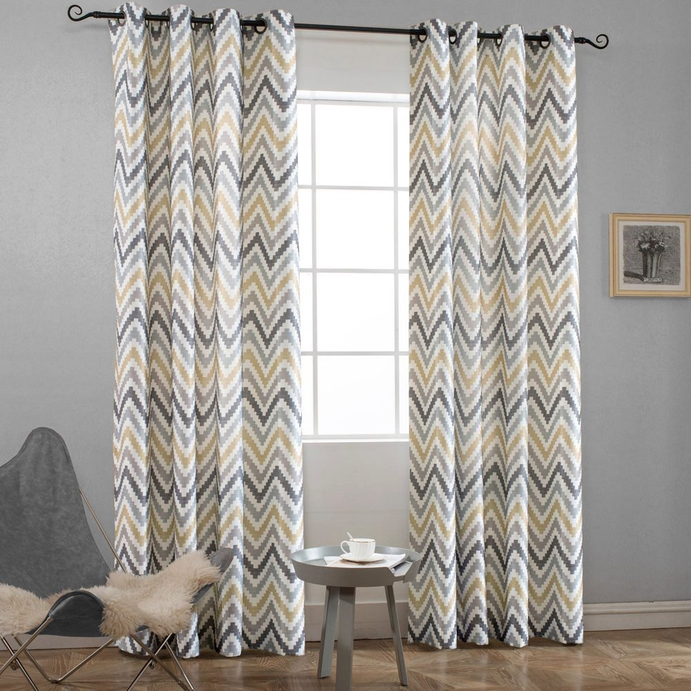 Melodieux Chevron Grommet Top Window Curtains for Living Room, 52 by 84 Inch, Yellow (1 Panel)