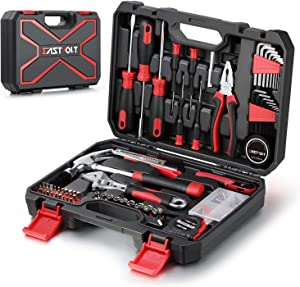 Eastvolt 128-Piece Home Repair Tool Set, Tool Sets for Homeowners, General Household Hand Tool Set with Storage Toolbox, EVHT12801, Black + Red (ASK01)