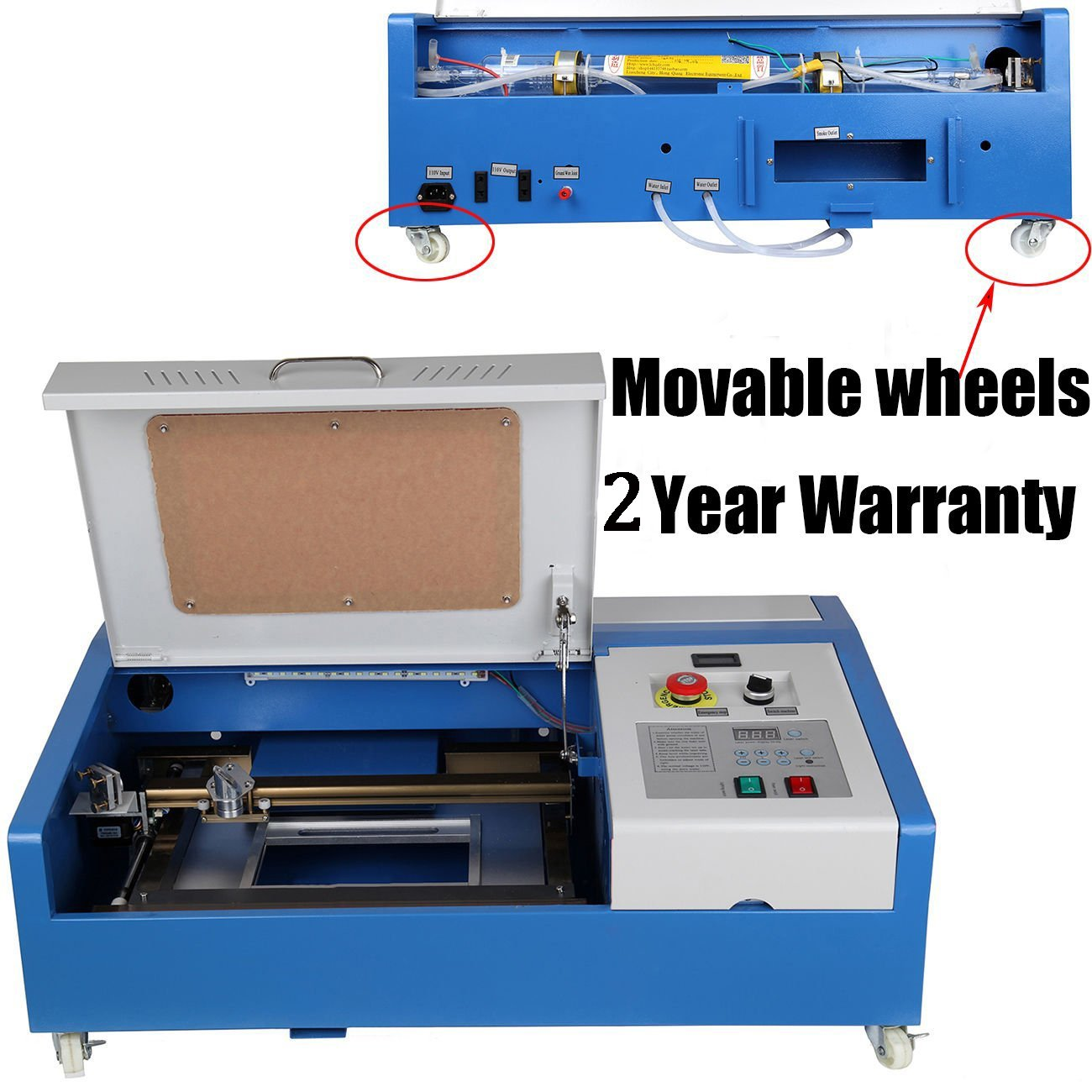 Iglobalbuy On-Wheel Movable 40W CO2 USB Laser Engraving Cutting Engraver Cutter w/LED Strip Light