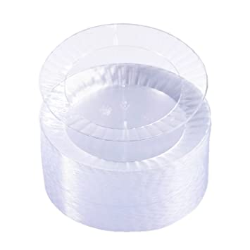 Amazon.com Party Essentials Deluxe Quality Hard Plastic 70 Count Round Party/Dessert Plates 6-Inch Clear Kitchen \u0026 Dining  sc 1 st  Amazon.com & Amazon.com: Party Essentials Deluxe Quality Hard Plastic 70 Count ...