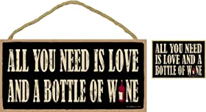 All You Need is Love and a Bottle of Wine-Bundle of 2 Items-Plaque & Magnet