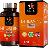 L-Theanine 400mg - HIGH Strength, 120 Vegan Capsules by BriteLife | NOOTROPIC Supplement | Supports Relaxation & Boosts Cognitive Performance - Manufactured in ISO Licensed Facilities in The UK