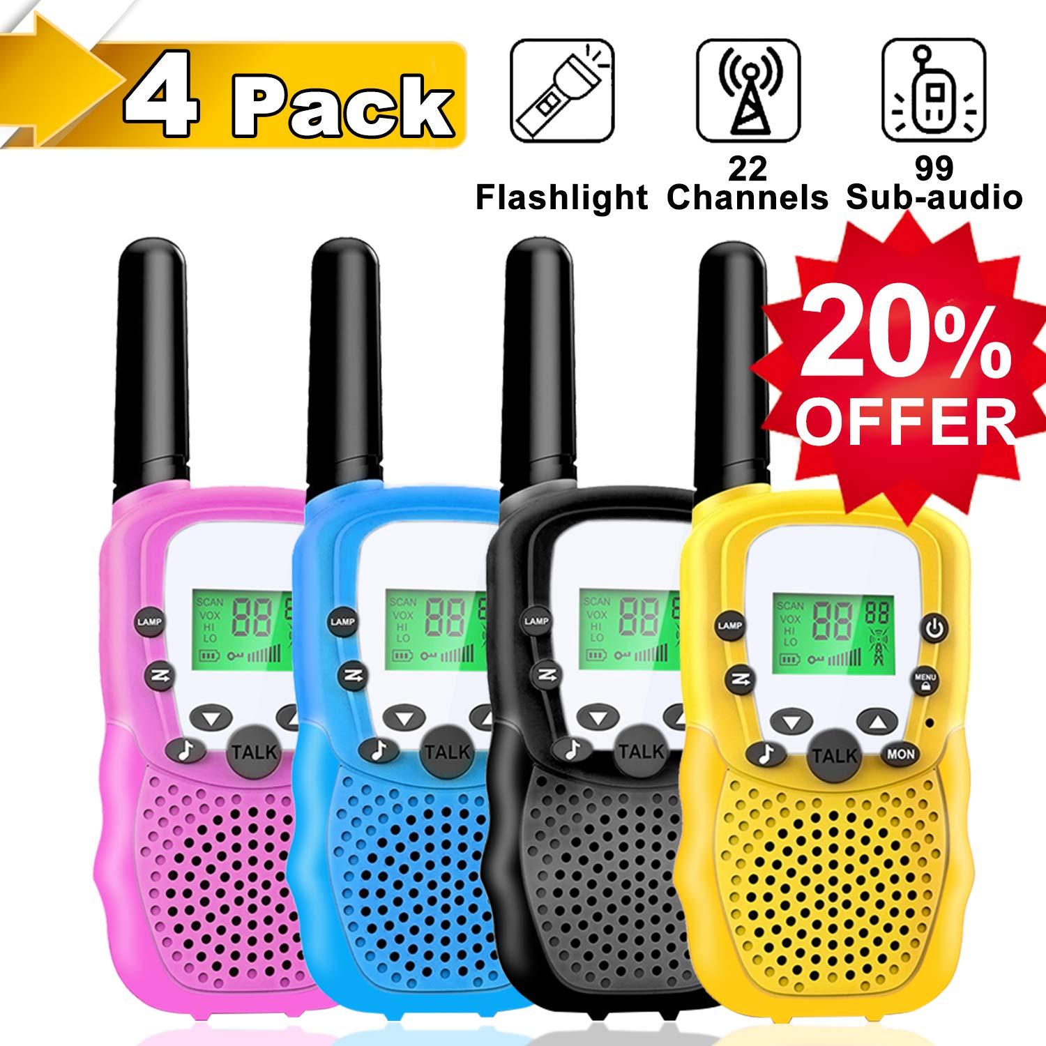 4 Pack Kids Walkie Talkies - 22 Channels 2 Way Radio Long Range Kids Toys, Handheld Child Walkie Talkies for Boys Girls with Flashlight for Sport Outdoor Camping Hiking Prime Electronic Toy Gifts