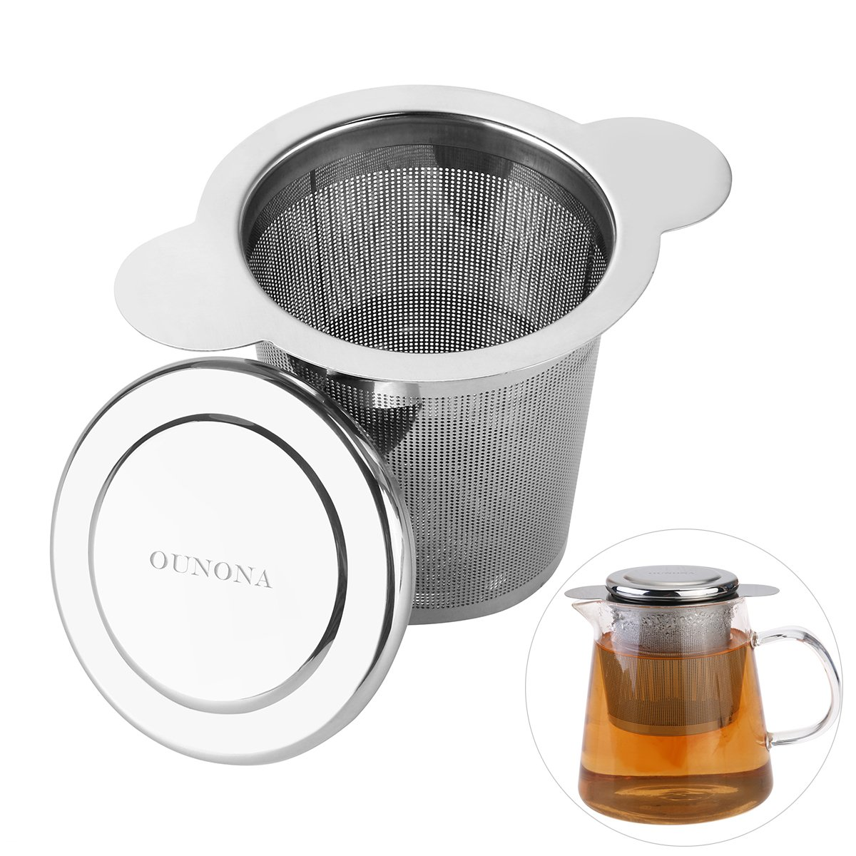 OUNONA Tea Strainer Tea Infuser 304 Stainless Steel with Lid for Loose Leaf Grain Tea Cups, Mugs, and Pots FEMIHGFJGUGD177
