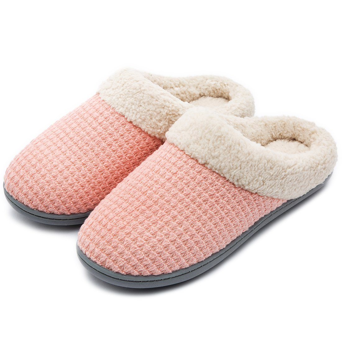 ULTRAIDEAS Women's Comfort Coral Fleece Memory Foam Slippers Plush Lining Slip-on Clog House Shoes for Indoor & Outdoor Use (Small/5-6 B(M) US, Pink Knit)