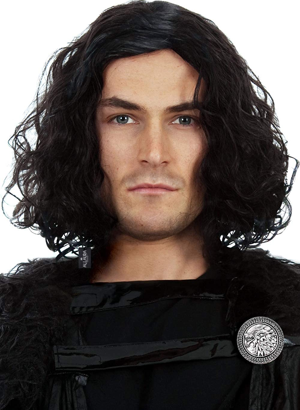 Northern Snow King Wig   Shield Pin  Short Black Curly Cosplay Wigs for Men Cosplay Halloween Mens Costumes