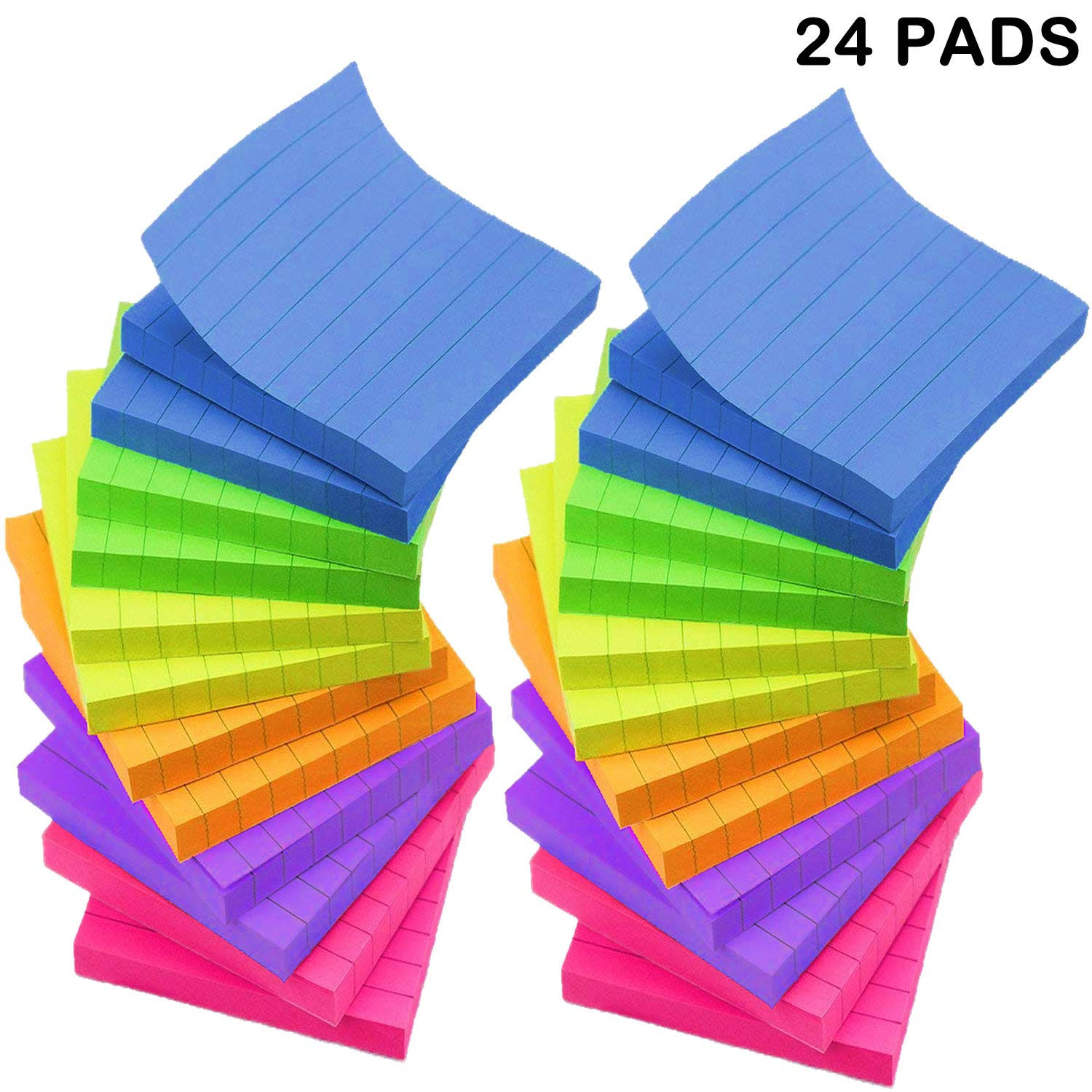 Lined Sticky Notes 3x3 Inches - 6 Bright Color Self-Stick Notes - 24 Pads/Pack, 70 Sheets/Pad