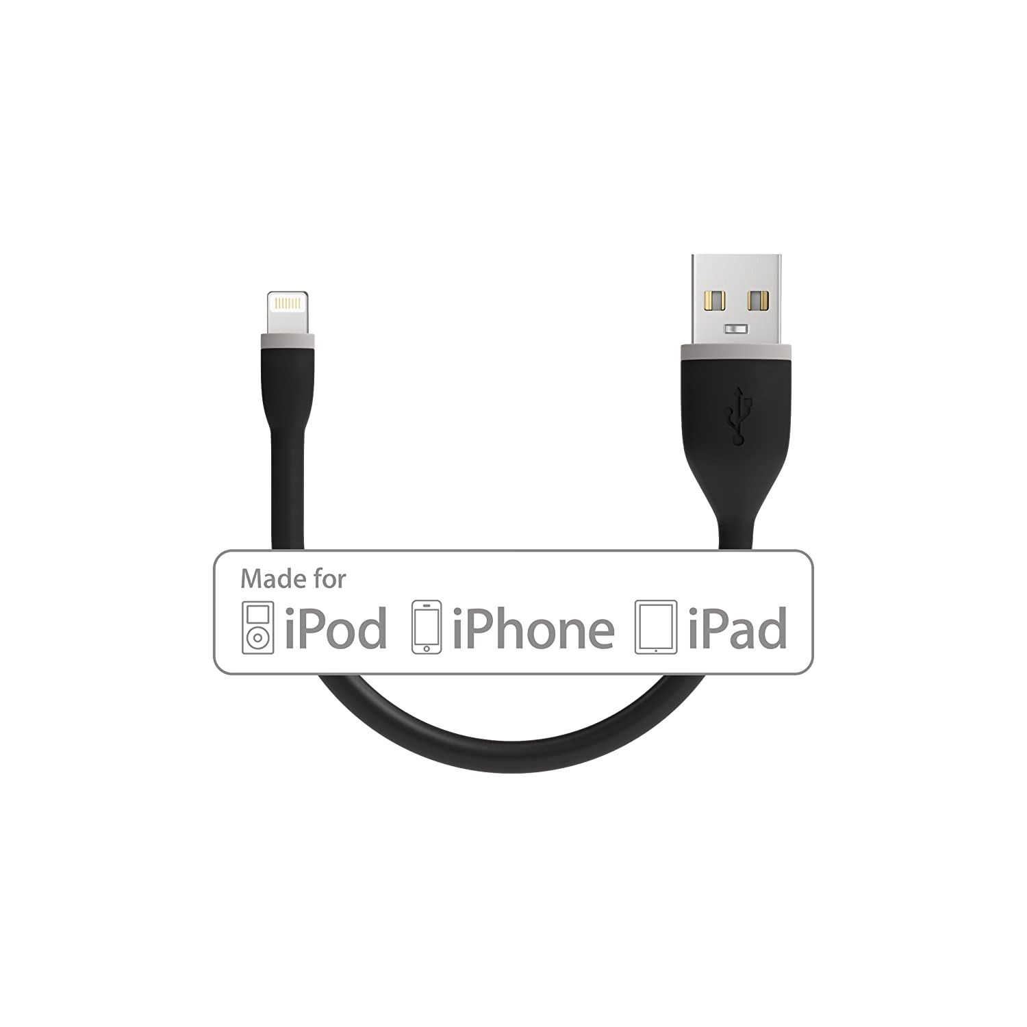 Satechi Flexible Apple MFi Certified Lightning USB Charging Cable - Compatible with iPhone Xs Max/XS/XR/X, 8 Plus/8 and More (6-Inch, Black)