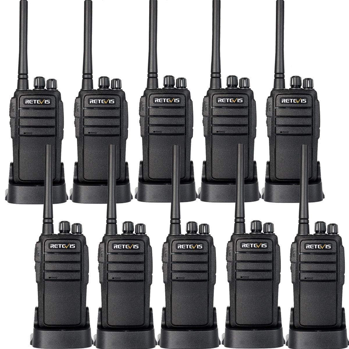 Retevis RT21 Updated Walkie Talkies Rechargeable 3000mAh Two Weeks Long Standby UHF 16CH VOX 2 Way Radio Long Range Two Way Radios(10 Pack)